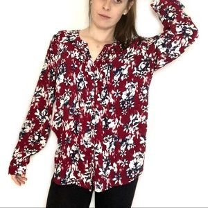 Laura Scott Floral Long Sleeve Blouse Red Blue